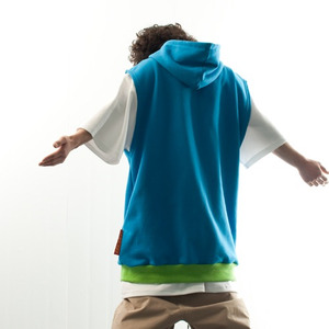 PLAIN HOODIE VEST - LIGHT BLUE