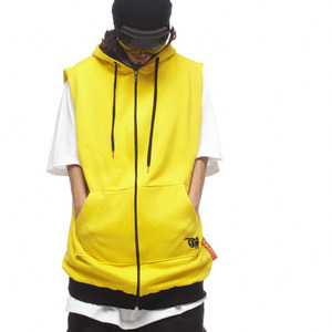 PLAIN HOODIE VEST - Bright yellow